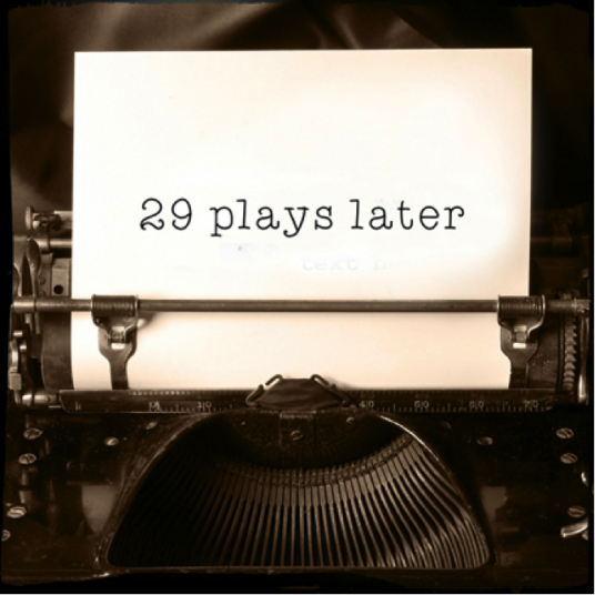 Typewriter with 29 plays later on paper