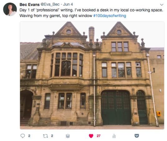 Eva Bec Tweet - day one of writing