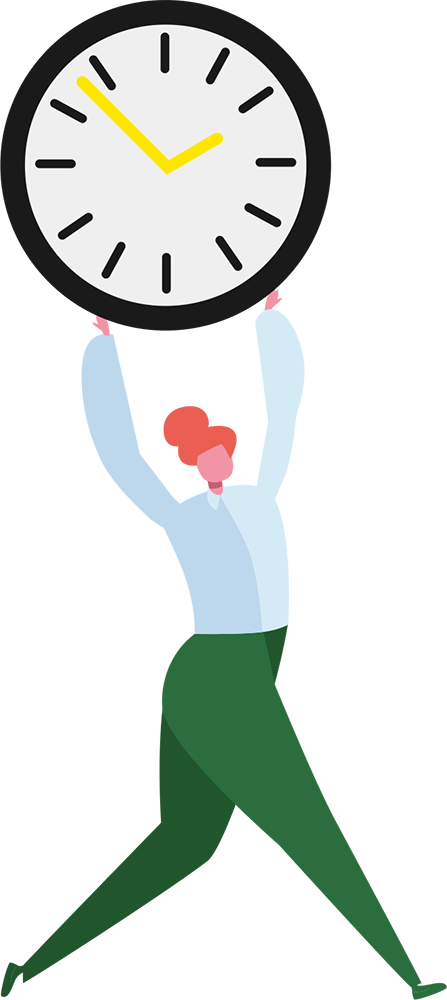 Illustration of person holding clock